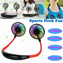 Lazy Neck Hanging Dual Mini Cooling Fan Sports Rest Portable USB Rechargeable $14.04