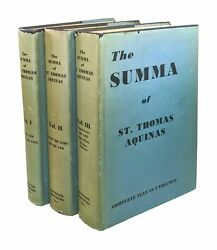 Thomas Aquinas  Summa Theologica First Complete American Edition in 3 Vols 1947 $275.00
