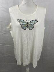 Sunburst By Morning Sun Plus Size 2X Cream Off White Tank Cardigan Butterfly $12.99