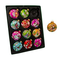 65MM 12 Days Of Christmas Glass Ball Ornaments 12 Piece Box Set GG0638 New $39.70