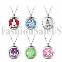 Womens Locket Necklace Fragrance Essential Oil Aromatherapy Diffuser Pad Pendant $41.48