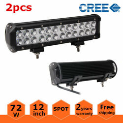 2X 12inch 72W LED Light Bar Off Road Combo Ford 4WD SUV ATV Truck Lamp Fog RZR $34.15