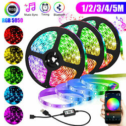 5V USB LED Strip Lights TV Back Light 5050 RGB Color Change Bluetooth APP Remote $9.97