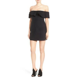 Kendall Kylie Ruffle Off Shoulder Mini dress Black Small $25.99