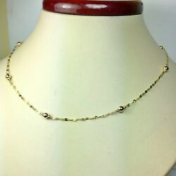 14k solid yellow gold 24#x27;#x27; star link sparkly nice station necklace 1.6 grams $95.00