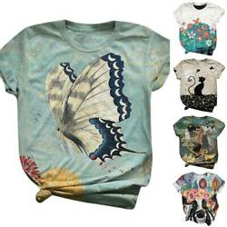Womens Crew Neck Short Sleeve Floral T-Shirt Blouse Ladies Cat Printed Tees Tops $15.57