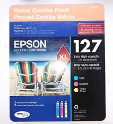 Genuine Epson 127XL Tri-Color Extra High Capacity Ink Value Combo Pack Sealed $46.99