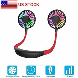 Portable Rechargeable Neckband Neck Hanging Dual Cooling Mini Fan Personal LED $13.49