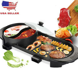 Portable Electric 2 in 1 Hot Pot Barbecue Grill Non-Stick Teppanyaki Pan Soup US $72.99