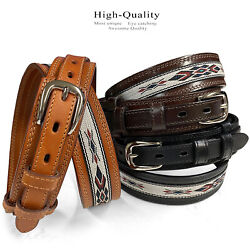 Men's Leather Durable with Fine Cloth Western Ranger Cowboy Belt - 1 1/2
