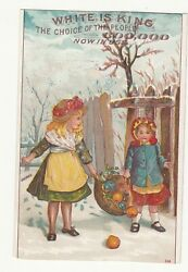 White Sewing Machine Sisters Holding Basket of Fruit Fence Snow Vict Card c1880s $4.45