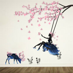 Romantic Wall Stickers Flower Fairy Swing Bedroom Living For Kids Room Wall Deco $17.30