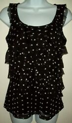 Womens Ruffled Netted Overlay Top Size S Black Polka Dot Sleeveless Scoop Neck