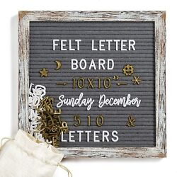 Felt Message Letter Board Sign Changeable Rustic Wood Frame 10x10 Inches White $14.89