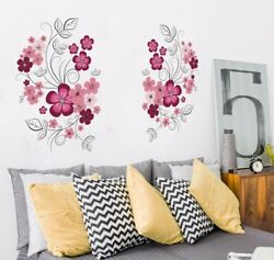 Vinyl Wall Stickers Flowers Living Room TV Sofa Background Home Decor Removable $22.98