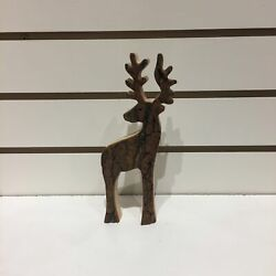 Handcrafted Carved WOOD BARK Small Deer 8quot; x 3.5quot; FREE SHIPPING $30.00