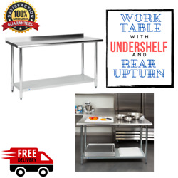 Commercial 24quot; x 60quot; Stainless Steel Work Prep Table With BACKSPLASH Kitchen NSF