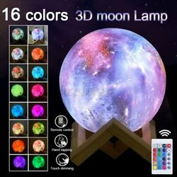 US 3D Moon Lamps USB LED Night Lunar Light Desk Moonlight Touch Color Changing $14.81