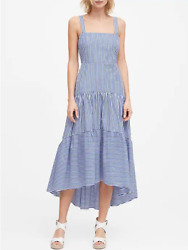 NEW Banana Republic 0 Blue Stripe Poplin Tiered Maxi Dress XS $16.59