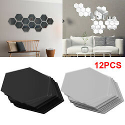 12Pcs 3D Hexagon Acrylic Mirror Wall Stickers Home Room DIY Art Removable Dector $7.98