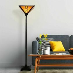 Tiffany Stained Glass Egyptian Style Metal Floor Lamp Vintage Lighting LED Bulb $112.99