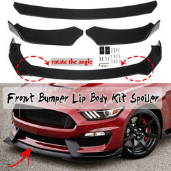 3x Glossy Black Front Bumper Lip Spoiler Chin Splitters For Ford Mustang Focus $53.46
