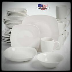 30-Piece Porcelain Dinnerware Set Square Dinner Plates Dish Service For 6 White $45.99