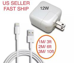 12W USB Power Adapter Charger for Apple 8 7 X Pro iPad 2 3 4 Air 1M 2M 3M Cable $12.49