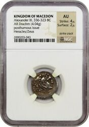 336-323 BC Alexander III AR Drachm NGC AU (Ancient Greek)