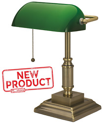 Desk Lamp Light W Green Glass Shade Electric Antique Brass Finish Bankers Style $60.71