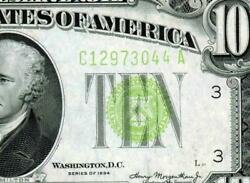 $10 1934  LGS LIME (( LIGHT GREEN SEAL )) Federal Reserve Note  Paper Currency $21.50