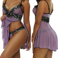 Plus Size Sexy Womens Lace Lingerie Dress G string Babydoll Underwear Sleepwear $12.98