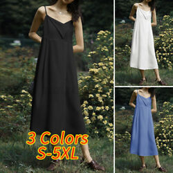 US Womens Sleeveless Casual Party Beach Dresses CaDress Summer Long Sundress $15.99