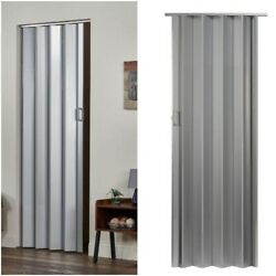 Vinyl Accordion Folding Slide Door Durable Panels Closets Tight Spaces - Silver $65.99