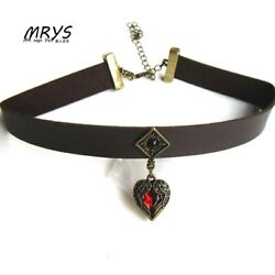 gothic red heart choker necklace charm chain for women girls fashion jewelry