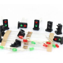 10 sets 1:87 Target Faces With LEDs Red Green Railway Dwarf Signal HO OO Scale $10.99