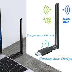 1200Mbps Wireless USB WiFi Adapter Dongle Dual Band W/Antenna PC Desktop Laptop $12.99