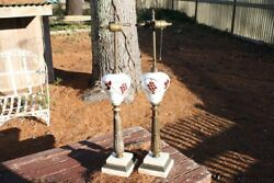 Pair Antique Lamps Hand Painted Glass Marble Metal Double Bulbs Grape Bunch 30quot;T $95.00