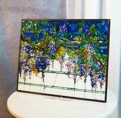 Louis Comfort Tiffany Wisteria Blossoms Stained Glass Wall Or Desktop Plaque $104.99