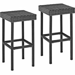 Set of Two Brown Palm Outdoor Flat Wicker Weave Height Bar Stools UV resistant  $159.75