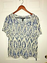 Inc International Concepts Woman Beaded Neckline Top Tee Size 2X Ikat Print
