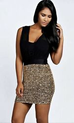 Boohoo Black Boutique Tilly Pleated Sequin Dress Size 8 GBP 13.00
