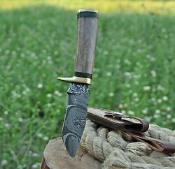 CUSTOM HAND FORGED DAMASCUS Steel Hunting Knife WBone & Brass Bolster Handle $25.99