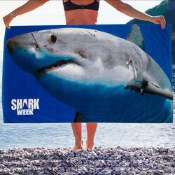 Shark Week Beach Towel 30 X 60 Inch Large 100% Cotton Soft Absorbent Blue $14.99