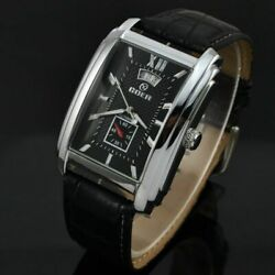 Automatic Mechanical Mens Watches Square Dial PU Leather Strap Wristwatch Date $36.86
