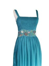 Embroidered amp; Beaded Long Boho Dress Ombre Maxi Small $20.00