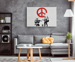 Banksy Peace Through War Soldiers Contemporary Wall Art Print on Framed Canvas $87.99