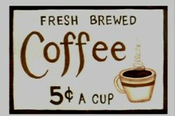 country kitchen FRESH BREWED COFFEE 5C farmhouse home decor wood sign 6x4quot; $6.49