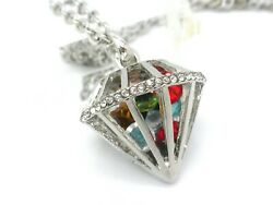 Gangsta Bling Heart Long Women Men#x27;s Crystal Necklace Cage Pendant Silver Plated $15.27