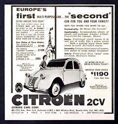 1955 Citroen 2 CV Coupe 4 Seater photo First Multi Purpose Car vintage print ad $7.19